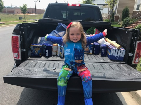 Girl with food donations
