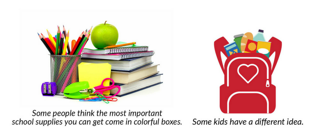 Image of school supplies on one side and backpack of food on the other